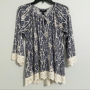 Style & Co. White & Navy Blouse Lace Hem